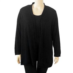 Fever Black Cardigan With Pleated Back Detail